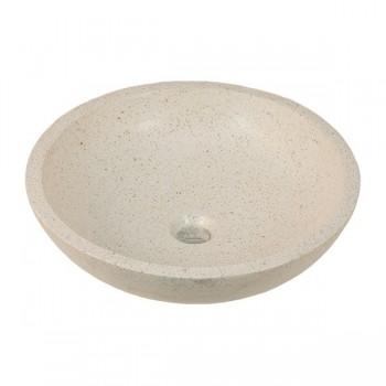 Vasque ronde blanche de salle de bain à poser en terrazo