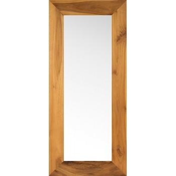 Miroir en bois naturel vernis pour une salle de bain en teck