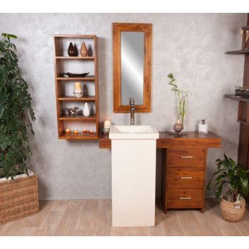 Ensemble de salle de bain en teck Parthenon simple vasque simple miroir